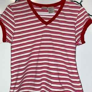 Pink/Red/White striped shirt